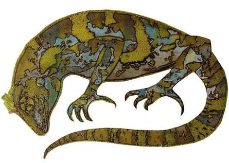 Animals Etching Art Drawing title Chameleon by artist Atul Bangal