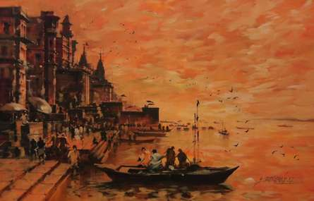 Cityscape Acrylic Art Painting title 'Banaras Ghat 15' by artist Sandeep Chhatraband