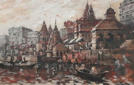 Sandeep Chhatraband | Acrylic Painting title Banaras Ghat 11 on Canvas | Artist Sandeep Chhatraband Gallery | ArtZolo.com