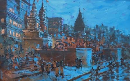 Sandeep Chhatraband | Acrylic Painting title Banaras Ghat 21 on Canvas | Artist Sandeep Chhatraband Gallery | ArtZolo.com