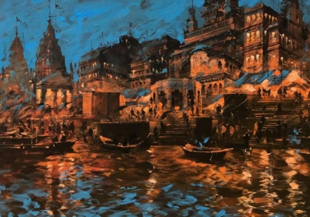 Cityscape Acrylic Art Painting title Banaras Ghat In The Evening by artist Sandeep Chhatraband