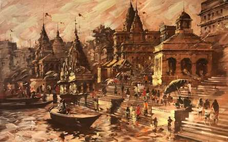 Cityscape Acrylic Art Painting title Banaras Ghat Morning View by artist Sandeep Chhatraband