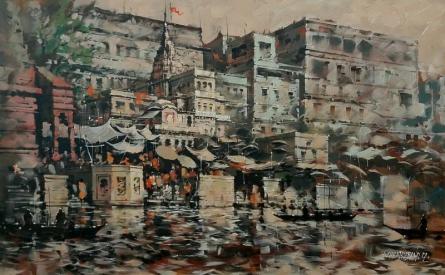 Cityscape Acrylic Art Painting title 'Banaras Ghat 38' by artist Sandeep Chhatraband