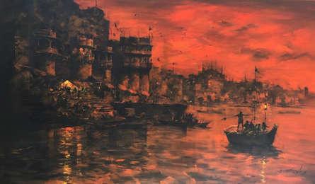 Cityscape Acrylic Art Painting title 'Banaras Ghat 41' by artist Sandeep Chhatraband