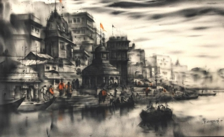 Sandeep Chhatraband | Acrylic Painting title Banaras Ghat 42 on Canvas | Artist Sandeep Chhatraband Gallery | ArtZolo.com