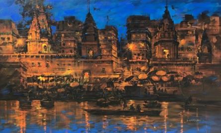 Cityscape Acrylic Art Painting title 'Banaras Ghat 51' by artist Sandeep Chhatraband