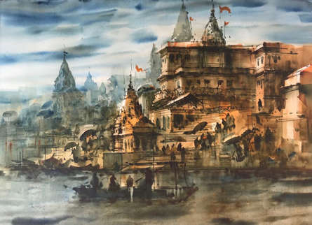 Cityscape Watercolor Art Painting title 'Banaras Ghat 54' by artist Sandeep Chhatraband