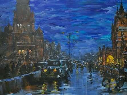 Cityscape Acrylic Art Painting title Cityscape 3 by artist Sandeep Chhatraband