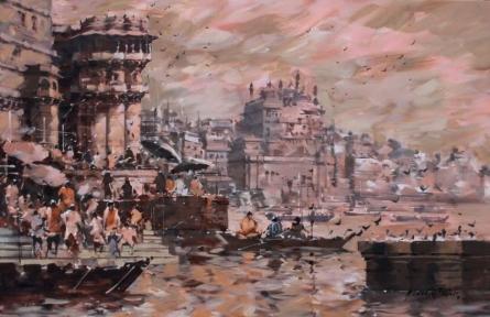 Cityscape Acrylic Art Painting title 'Banaras Ghat 26' by artist Sandeep Chhatraband