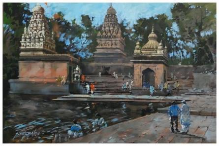 Landscape Acrylic Art Painting title 'Banaras Ghat 2' by artist Sandeep Chhatraband