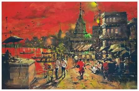 Landscape Acrylic Art Painting title Banaras Ghat 11 by artist Sandeep Chhatraband