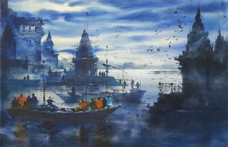 Landscape Acrylic Art Painting title 'Banaras Ghat 4' by artist Sandeep Chhatraband