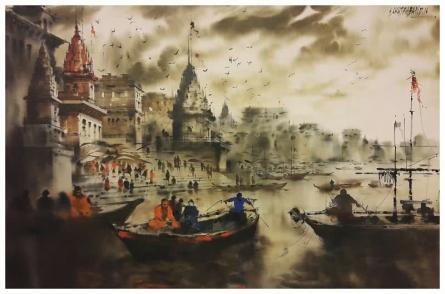 Landscape Acrylic Art Painting title 'Banaras Ghat 3' by artist Sandeep Chhatraband