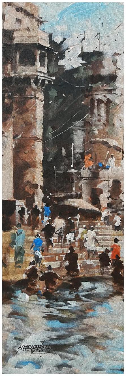 Banaras Ghat 19 | Painting by artist Sandeep Chhatraband | acrylic | Canvas