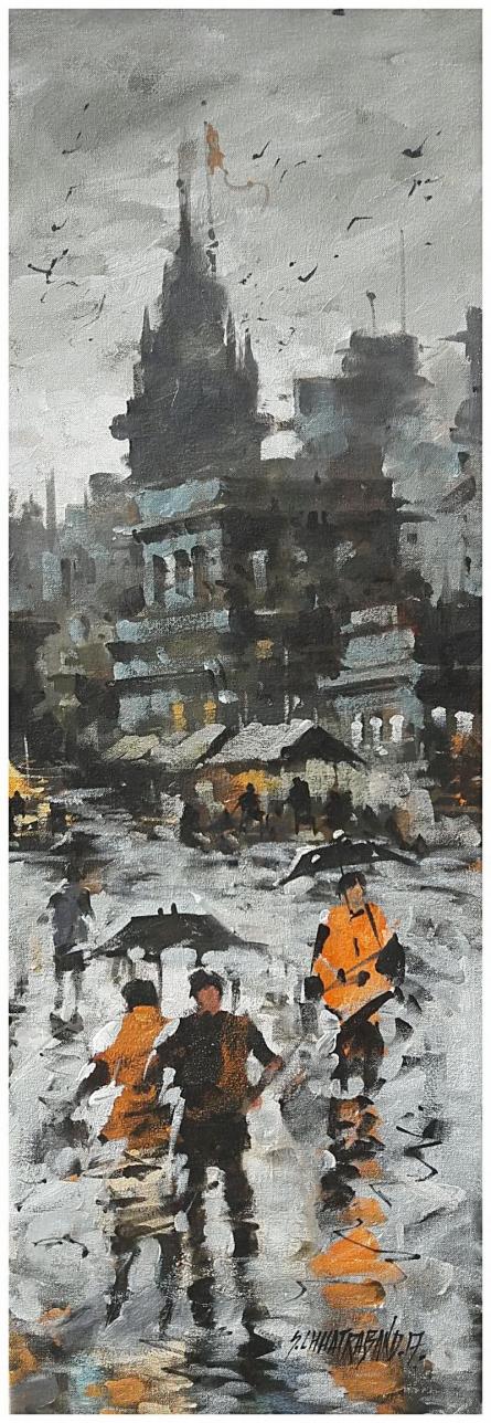 Landscape Acrylic Art Painting title Banaras Ghat 17 by artist Sandeep Chhatraband