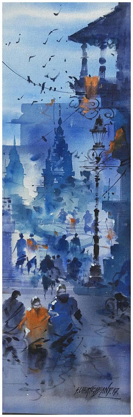 Nature Acrylic Art Painting title 'Banaras Ghat 16' by artist Sandeep Chhatraband