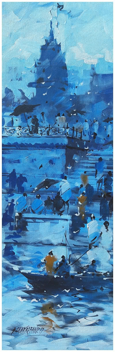 Landscape Acrylic Art Painting title 'Banaras Ghat 14' by artist Sandeep Chhatraband