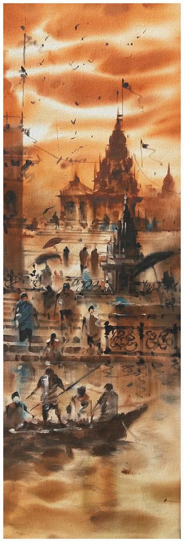 Landscape Acrylic Art Painting title 'Banaras Ghat 13' by artist Sandeep Chhatraband