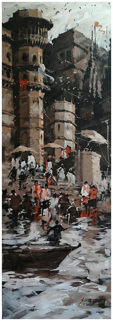 Banaras Ghat 7 | Painting by artist Sandeep Chhatraband | acrylic | Canvas
