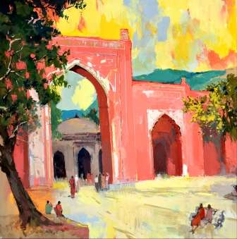 Nature Postercolor Art Painting title 'Ajmer III' by artist Sikandar Mulla