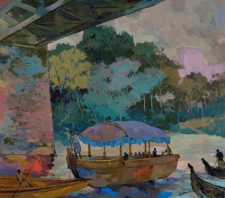 Seascape Acrylic Art Painting title 'Fairy Boat' by artist Sikandar Mulla