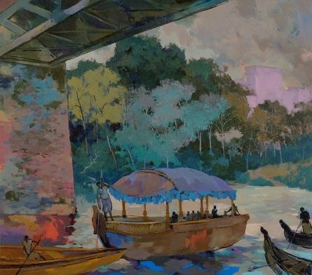 Sikandar Mulla | Acrylic Painting title Fairy Boat on Canvas | Artist Sikandar Mulla Gallery | ArtZolo.com