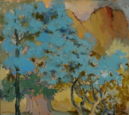 Sikandar Mulla | Oil Painting title Jungle 3 on Canvas | Artist Sikandar Mulla Gallery | ArtZolo.com
