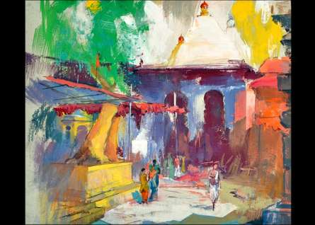 Temple II | Painting by artist Sikandar Mulla | postercolor | Paper