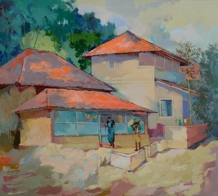 Sikandar Mulla | Acrylic Painting title Village on Canvas | Artist Sikandar Mulla Gallery | ArtZolo.com