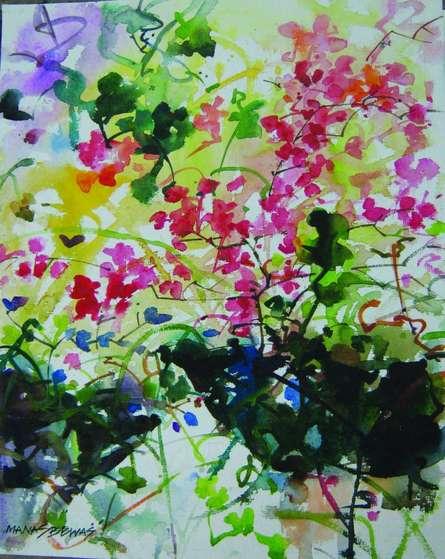 Nature Watercolor Art Painting title 'Flower vase' by artist Manas Biswas