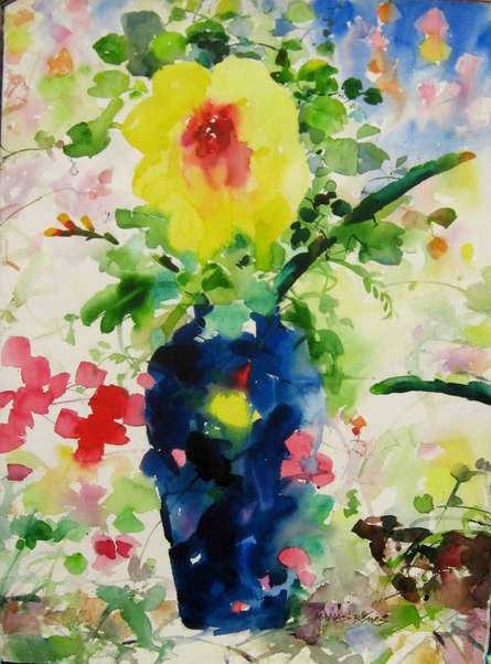 Manas Biswas | Watercolor Painting title Flower vase With Nature on Paper | Artist Manas Biswas Gallery | ArtZolo.com
