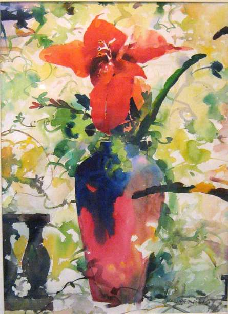 Nature Watercolor Art Painting title 'Red Flower With Vase' by artist Manas Biswas