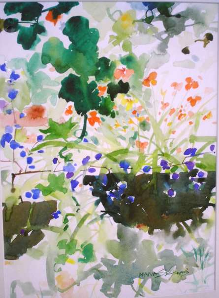Nature Watercolor Art Painting title 'Nature With Vase' by artist Manas Biswas