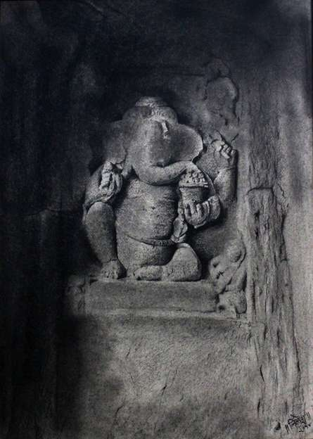 Charcoal Paintings | Drawing title Lord Ganesha on Paper | Artist NILESH GAVALE
