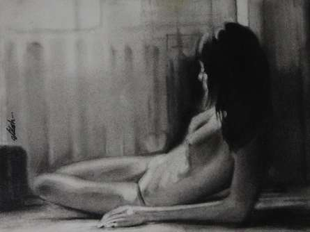Charcoal Paintings | Drawing title Sleeping Nude on Paper | Artist NILESH GAVALE