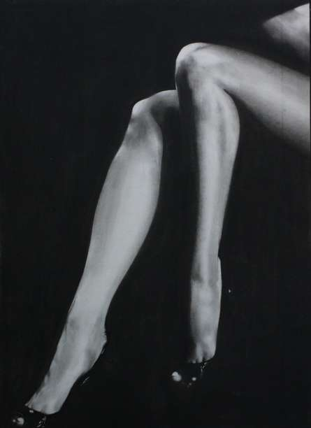 Sexy Legs Of Lady | Drawing by artist NILESH GAVALE |  | charcoal | Paper
