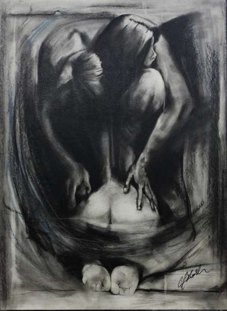 Erotic Charcoal Art Drawing title 'Nude Love Birds' by artist NILESH GAVALE