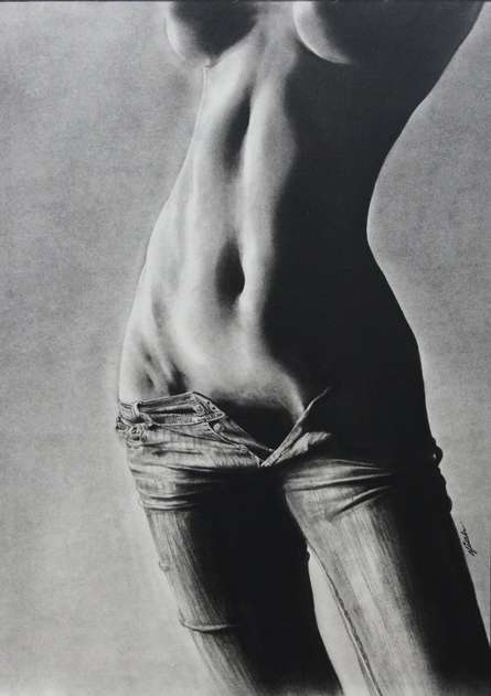 Charcoal Paintings | Drawing title Beauty OF Jeans Effect on Paper | Artist NILESH GAVALE
