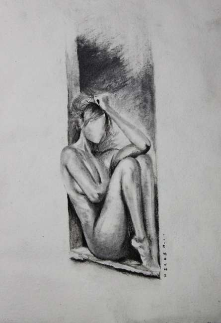 Nude Women In Deep Thoughts | Drawing by artist NILESH GAVALE | | charcoal | Paper