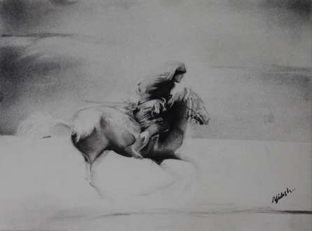 Charcoal Paintings | Drawing title Horse Riding on Paper | Artist NILESH GAVALE