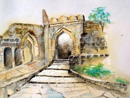 Fort | Painting by artist Pradip Bhosale | watercolor | Paper