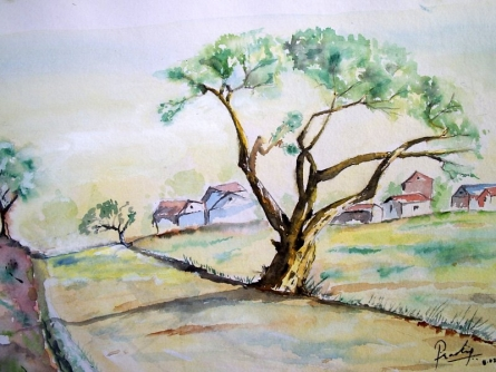 Gaav Vat | Painting by artist Pradip Bhosale | watercolor | Paper