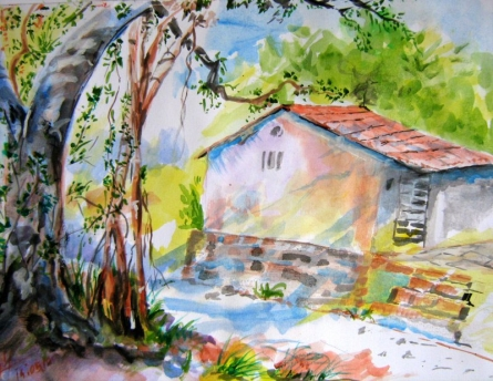 Home shelter | Painting by artist Pradip Bhosale | watercolor | Paper
