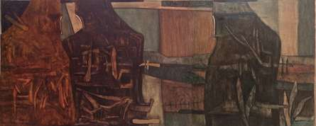 Figurative Oil Art Painting title IN SEARCH OF IDENTITY by artist Umesh Bhoi