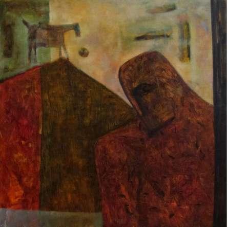 Umesh Bhoi Paintings | Oil Painting - VILLAGE MAN by artist Umesh Bhoi | ArtZolo.com