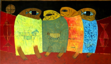 Figurative Oil Art Painting title 'Tribal Family' by artist Umesh Bhoi