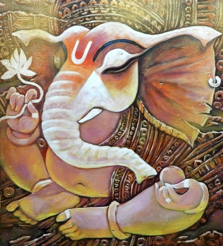 Religious Acrylic Art Painting title 'Ekadanta' by artist Subrata Ghosh