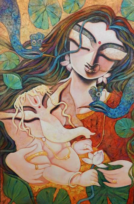 Subrata Ghosh | Acrylic Painting title Gift Of Love on Canvas | Artist Subrata Ghosh Gallery | ArtZolo.com