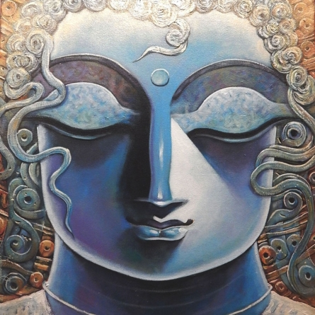 Religious Acrylic Art Painting title 'Goutam' by artist Subrata Ghosh