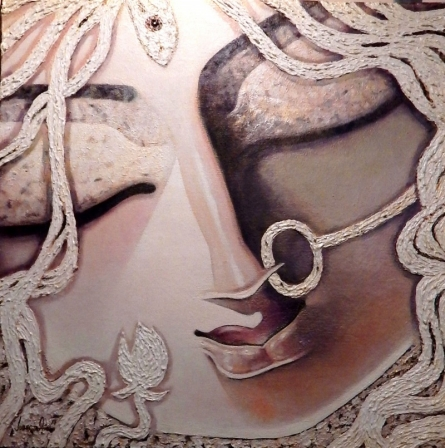 contemporary Acrylic Art Painting title 'Gracious ii Acrlic On Canvas 24 X 24inch' by artist Subrata Ghosh